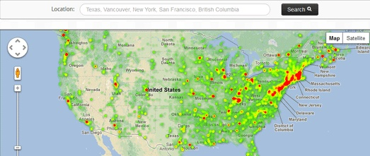 Google heatmaps API integration, historic places us | Clarity