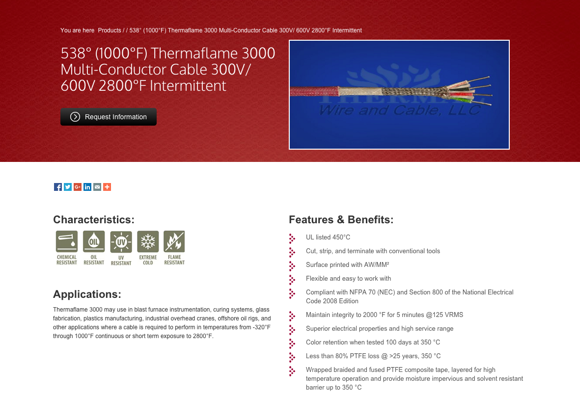 Thermal wire product page