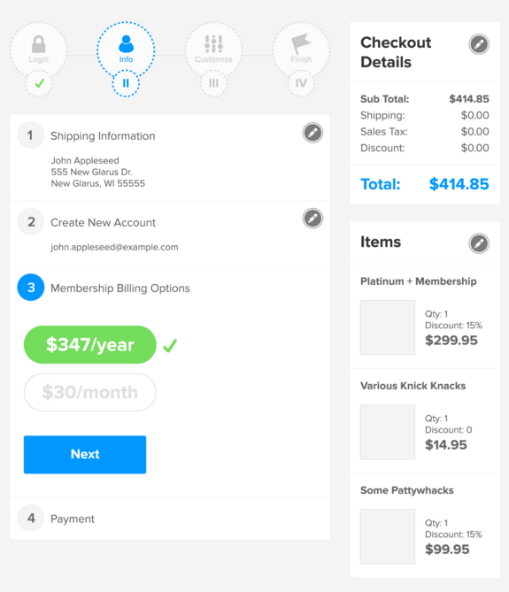 subscription eCommerce checkout UI