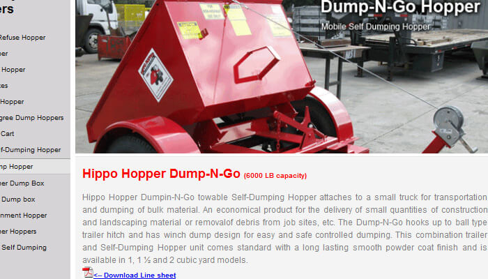 b2b ecommerce website example - hippo hopper