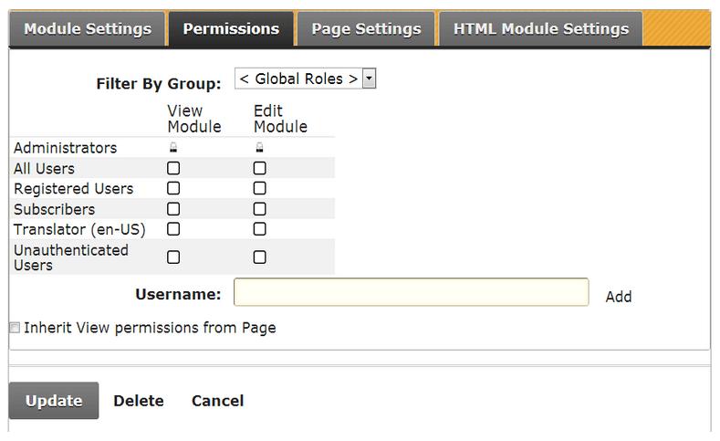 DotNetNuke User Permissions